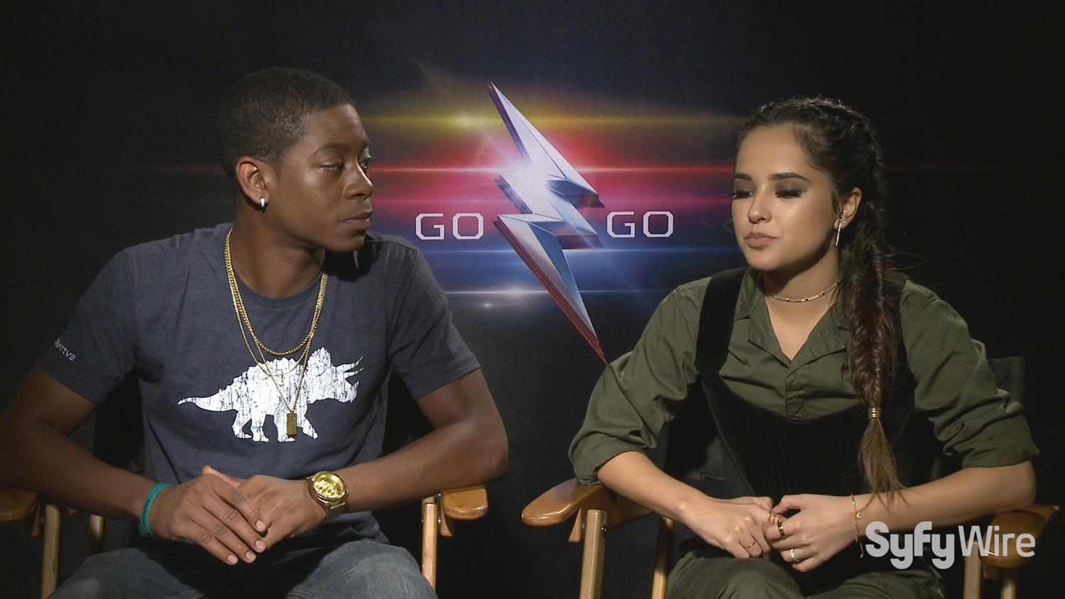 Power Rangers' Blue and Yellow Ranger RJ Cyler and Becky G.